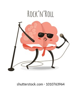 Rock n roll brain cartoon character,  illustration isolated on white, music lifestyle icon