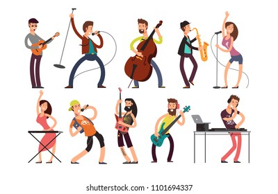 Rock and pop musicians cartoon characters. Young guitarists, drummers and singers artists isolated. Rock band on concert, guitarist and performer singer illustration