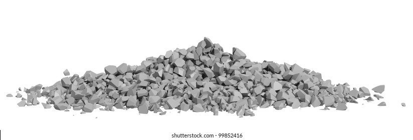 Rock rubble and pebbles in a small pile isolated on a white background