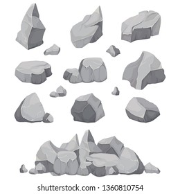 Rock stones. Graphite stone, coal and rocks pile for wall or mountain pebble. Gravel pebbles, gray stone heap cartoon isolated  icons illustration set
