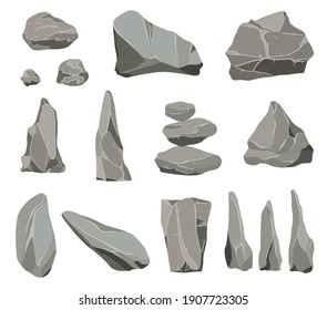 Rock stones. Graphite stone, coal and rocks pile for wall or mountain pebble. Gravel pebbles, gray stone heap cartoon isolated icons illustration set.