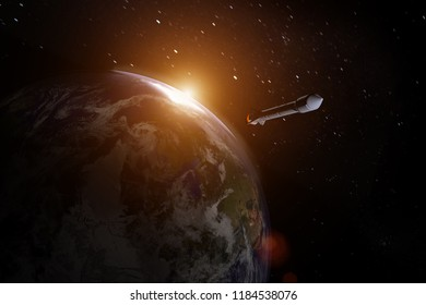 rocket about to leave earth into the unknown  , elements of this image furnished by NASA ,3D rendering