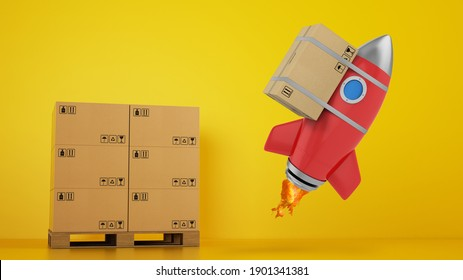 Rocket with attached package is ready to start. Concept of fast and priority delivery. Yellow background. 3D render