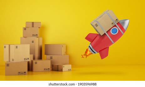 Rocket with attached package is ready to start. Concept of fast and priority delivery. Yellow background. 3D illustration
