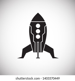 Rocket icon on background for graphic and web design. Simple illustration. Internet concept symbol for website button or mobile app
