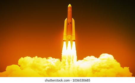 rocket launch, 3d illustration
