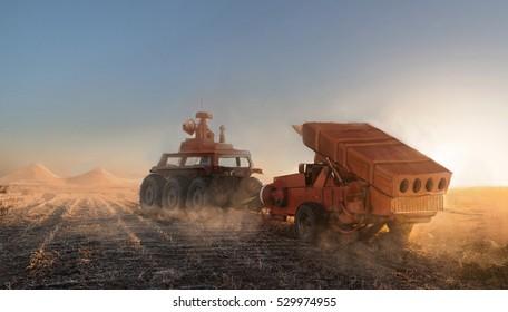 rocket launcher drag by terrain vehicle
