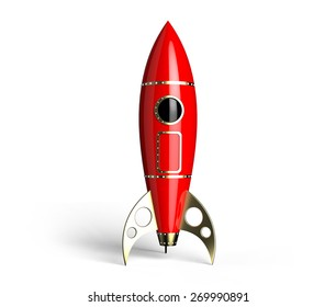 Rocket red antique style on white background