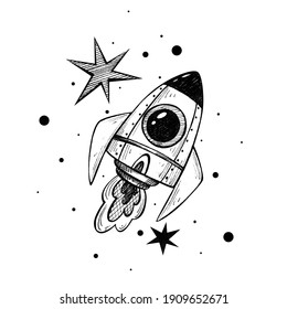 rocket and stars. space doodle illustration. black and white graphics for astronautics day.
