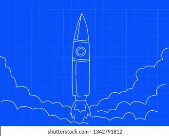 rocket startup launch blueprint concept doodle art - image