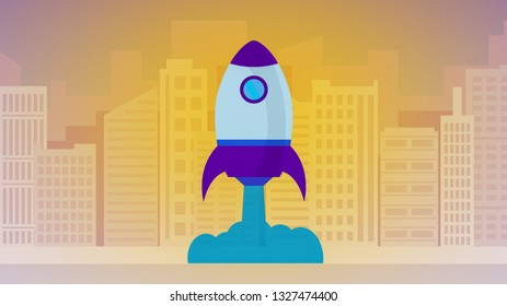rocket take-off, skyscrapers on background, concept of startup and success, cartoon flat style, vibrant colors