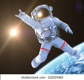 Rocking Astronaut in an Outer Space, 3d render