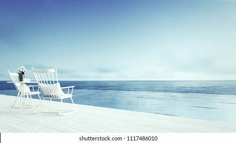 rocking chair - beach lounge - Sundeck on Sea view for  vacation and summer / 3d render
