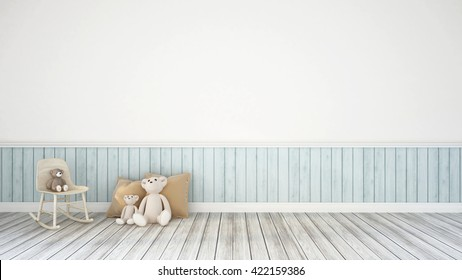 rocking chair, Teddy Bear and Pillow/ 3D Rendering