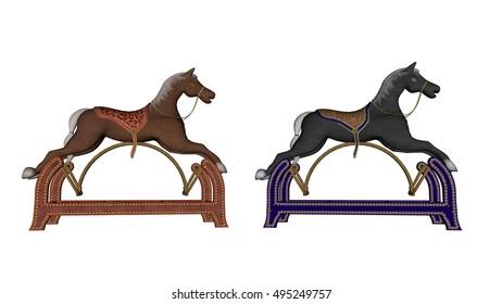 Rocking toy horses - 3D render