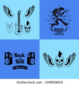 Rock'n'roll forever freedom and love set of icons guitar with wings skull horns loudspeakers ribbon raster illustration