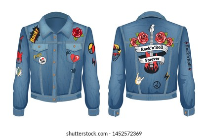 Rock-n-roll forever patches with roses flowers and electric guitar on jeans jacket. Denim clothes popular with horns sign, peace raster illustration
