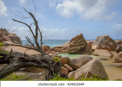 the rocks and the sea in the Seychelles