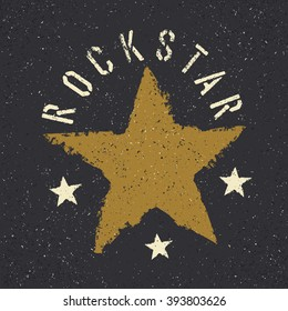 Rockstar. Grunge star with lettering. Tee print design template. Raster version.