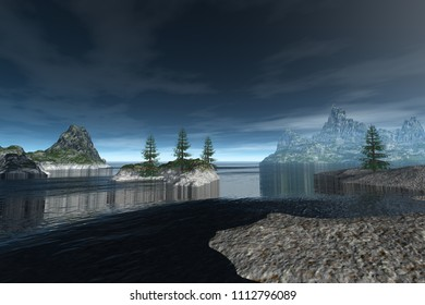 Rocky coast, 3d rendering, a natural landscape, trees on the island, fog on the horizon and clouds in the sky.