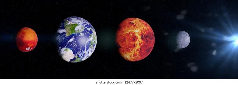 Comparison Size Planets Images, Stock Photos & Vectors