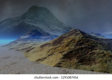 Rocky landscape, 3d rendering, blue fog between the mountains and cloudy sky.