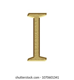 Etched gold metal style uppercase or capital letter I in a 3D