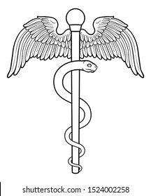 Rod of Asclepius or Aesculapius doctor medical symbol, often mislabelled as a caduceus. Features a snake curled around a staff. Also in this case features wings.