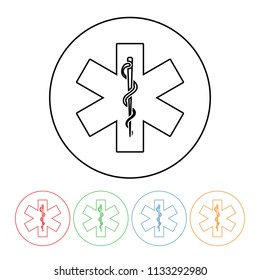 Rod of Asclepius medical symbol icon in a modern thin line style snake and staff symbol illustration outline with four color variations.  Raster version