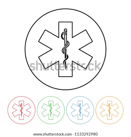 Rod Asclepius Medical Symbol Icon Modern Stock Illustration