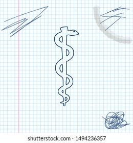 Rod of asclepius snake coiled up silhouette line sketch icon on white background. Medicine and health care concept. Emblem for drugstore or medicine, pharmacy snake symbol