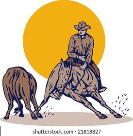 Rodeo cowboy horse cutting