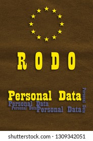 RODO/ General Data Protection Regulation illustration of secured personal data.