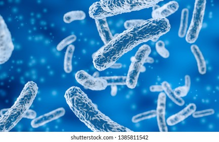 rod-shaped bacteria in blue background, 3d illustration