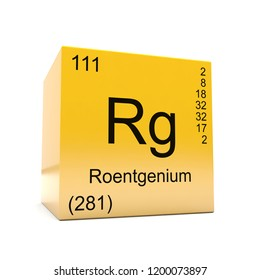 Roentgenium chemical element symbol from the periodic table displayed on glossy yellow cube 3D render