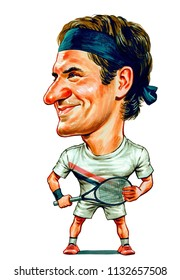 Roger Federer is a Swiss professional tennis player. Illustration,Caricature,Design,July,12,2018