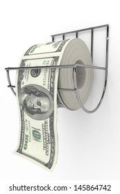 Roll of 100 dollars bills on a toilet paper spindle