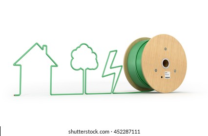 Roll the cable which stretched silhouette, isolated white background. 3D Illustration.