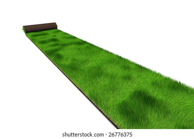 roll of green 3d sod being spread over a white background
