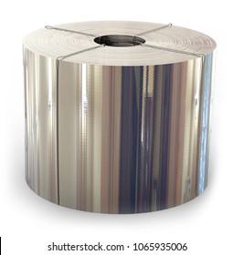 Roll of metal foil. 3D rendering