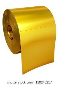 Roll of toilet tissue made of gold