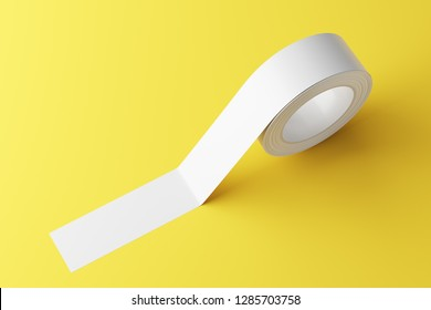 Roll of white sticky tape on the yellow floor. Mock Up. 3d rendering
