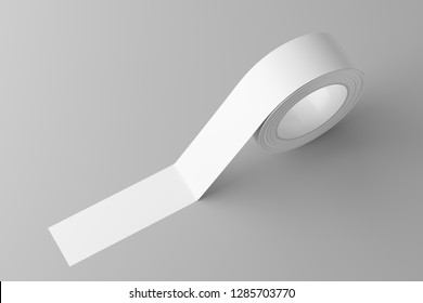 Roll of white sticky tape on the floor. Mock up. 3d rendering