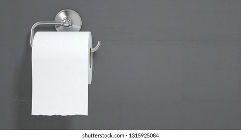 A roll of white toilet paper hanging on a chrome toilet roll holder on an isolated white textured background - 3D render