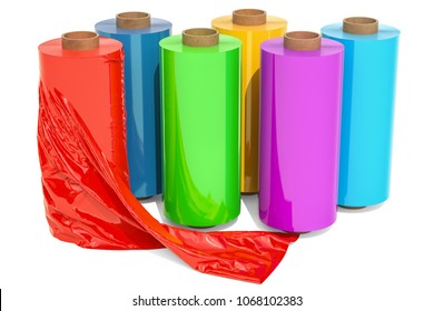 Roll of wrapping plastic stretch film, 3D rendering isolated on white background