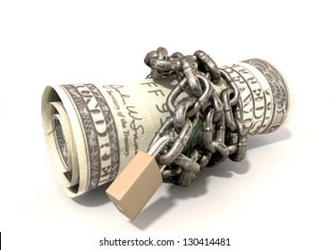A rolled up $200 dollar note wrapped with chains and secured with a padlock on an isolated background