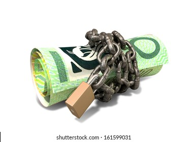 A rolled up australian dollar note wrapped with chains and secured with a padlock on an isolated background