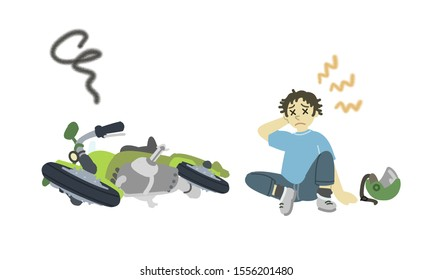 rolled bike, and fallen man