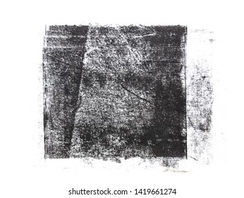 Rolled black acrylic paint in square shape with rich textured isolated on white background