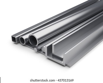 Rolled metal industrial background with copy space. 3D rendering of metal plate, shaped tube, L-bar, hexagon bar, metal channel isolated on white background.